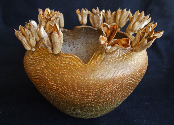 """Yucca Blossom Pod"", dried yucca blossoms and mixed media : Vessels, bowls and pods : Fossil and organic mixed media sculpture by Lee Brotherton"