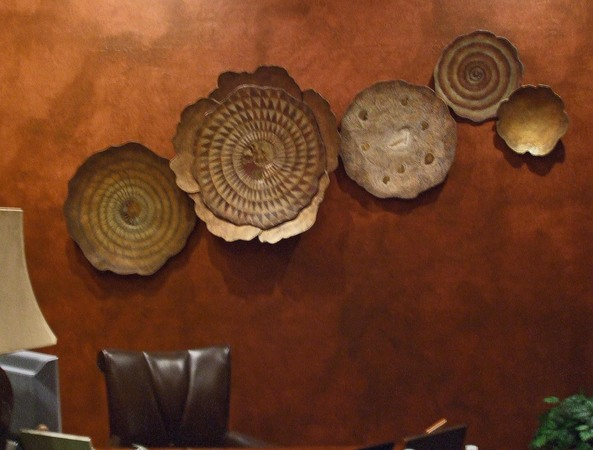 Five piece wall sculpture grouping with fossils. Approximately 8' x 4'