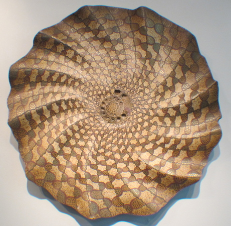 """Golden Dance"" ammonite fossil wall sculpture, 26"" diameter, M/M : Wall Sculpture : Fossil and organic mixed media sculpture by Lee Brotherton"
