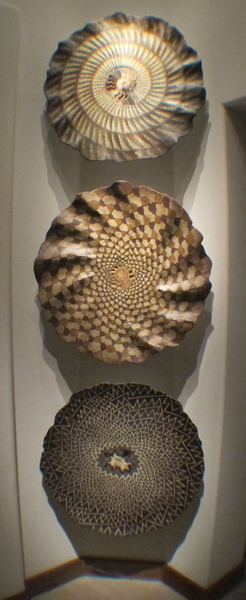"Three fossil wall sculptures installed in foyer corner (each approximately 26"" in diameter) They appear to ""float"" in mid-air : Installations and Commissions : Fossil and organic mixed media sculpture by Lee Brotherton"